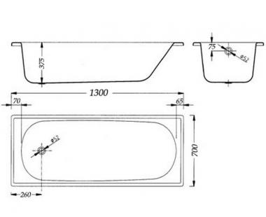 Ванна Aquart 130х70E B30E1200Z