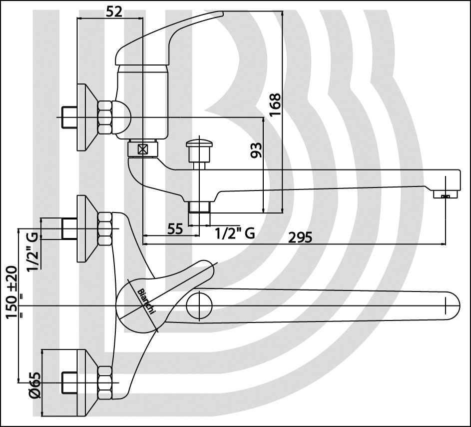 Смеситель для ванны BIANCHI MISTRAL LVBMST2023SK