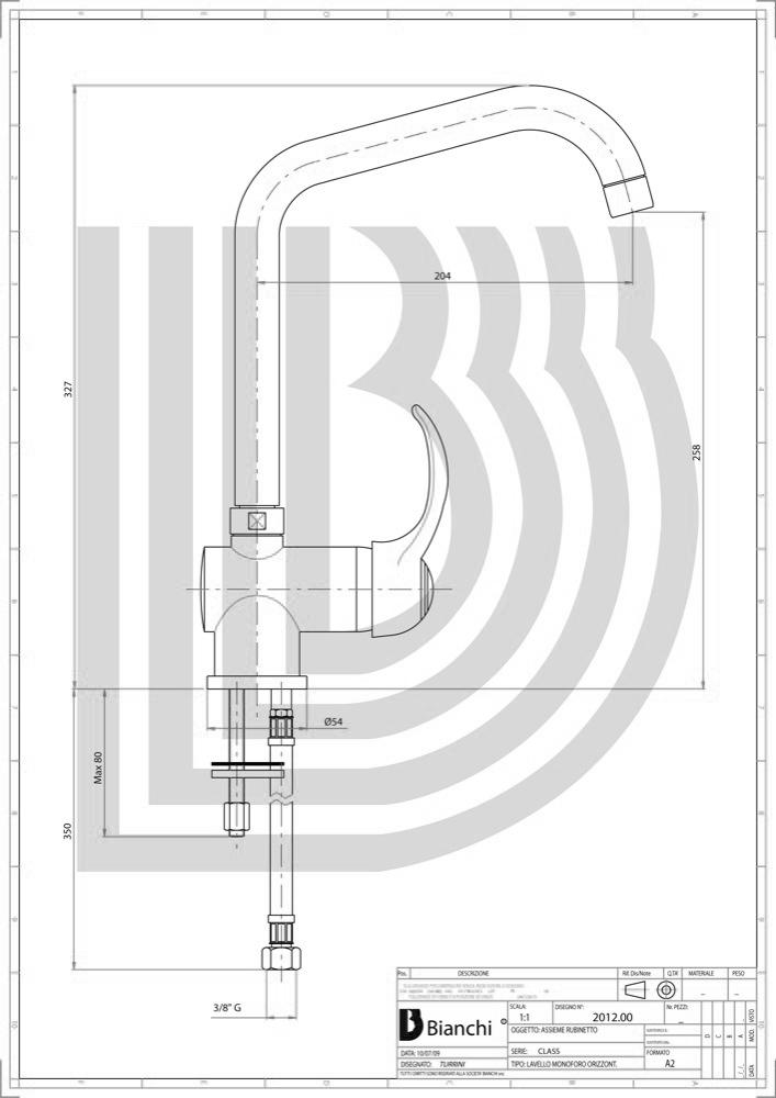 Смеситель для мойки BIANCHI Class LVMCLS 20120A CRM