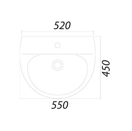 Умывальник Colombo Лотос 55 с отверстием (S14115500)