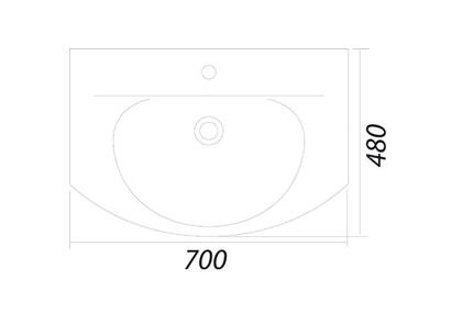 Умывальник мебельный Colombo Лотос 70 с отверстием (S14197000)