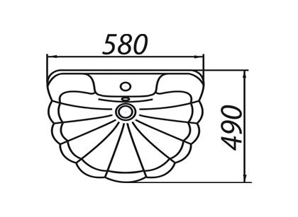 Умывальник Colombo бело-фиолетовый без отверстия (S18105872)