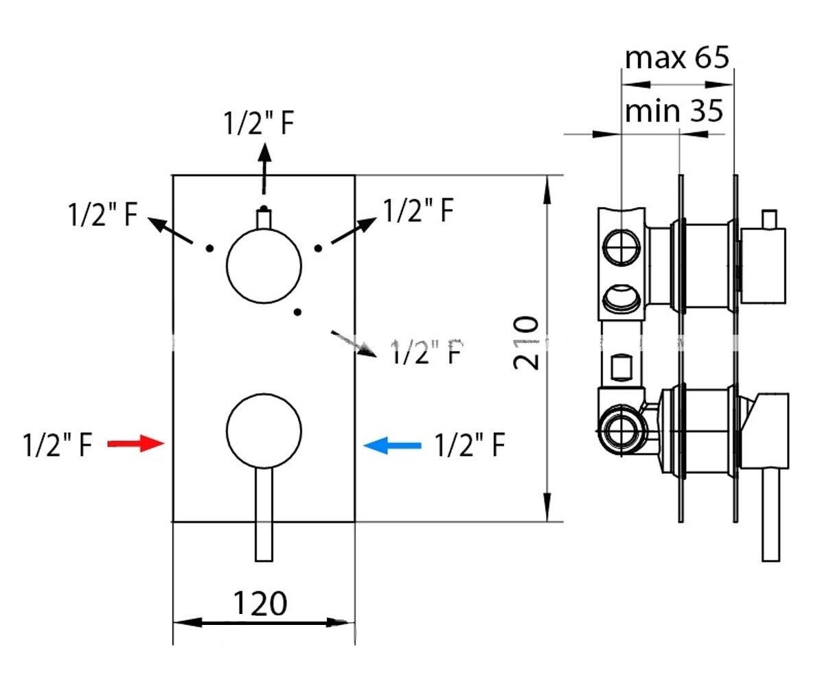 Смеситель-термостат для душа BOSSINI OKI/4 Z75206410