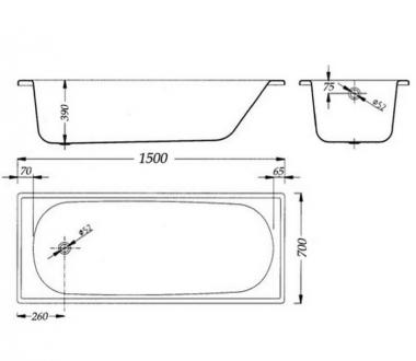 Ванна Aquart 150х70E B50E1200Z