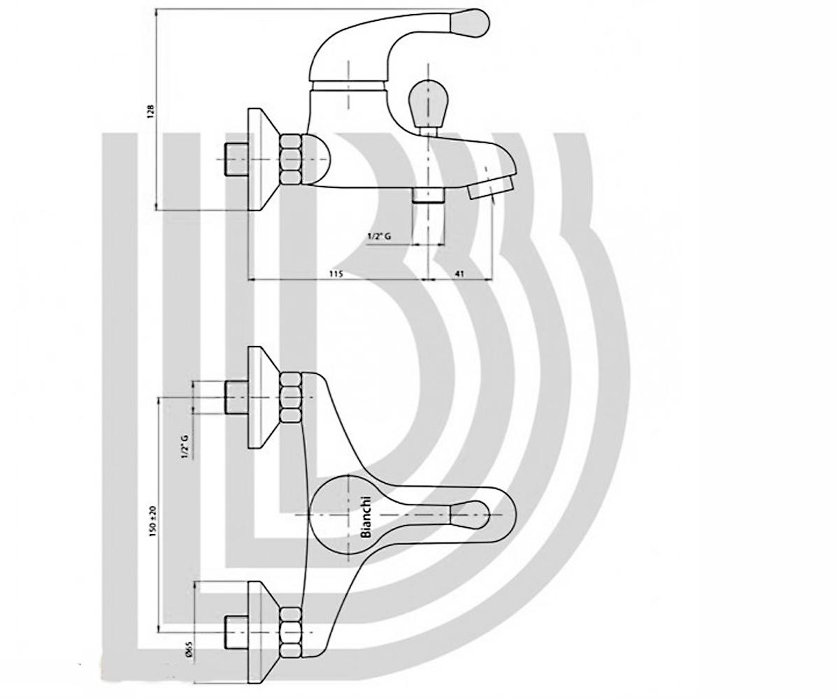 Смеситель для ванны BIANCHI Giotto CRB VSCGIO 2004SK CRB