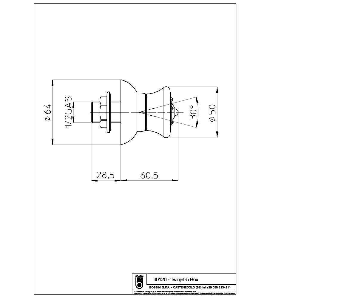 Боковая форсунка BOSSINI Twinjet-5 — Box I00120