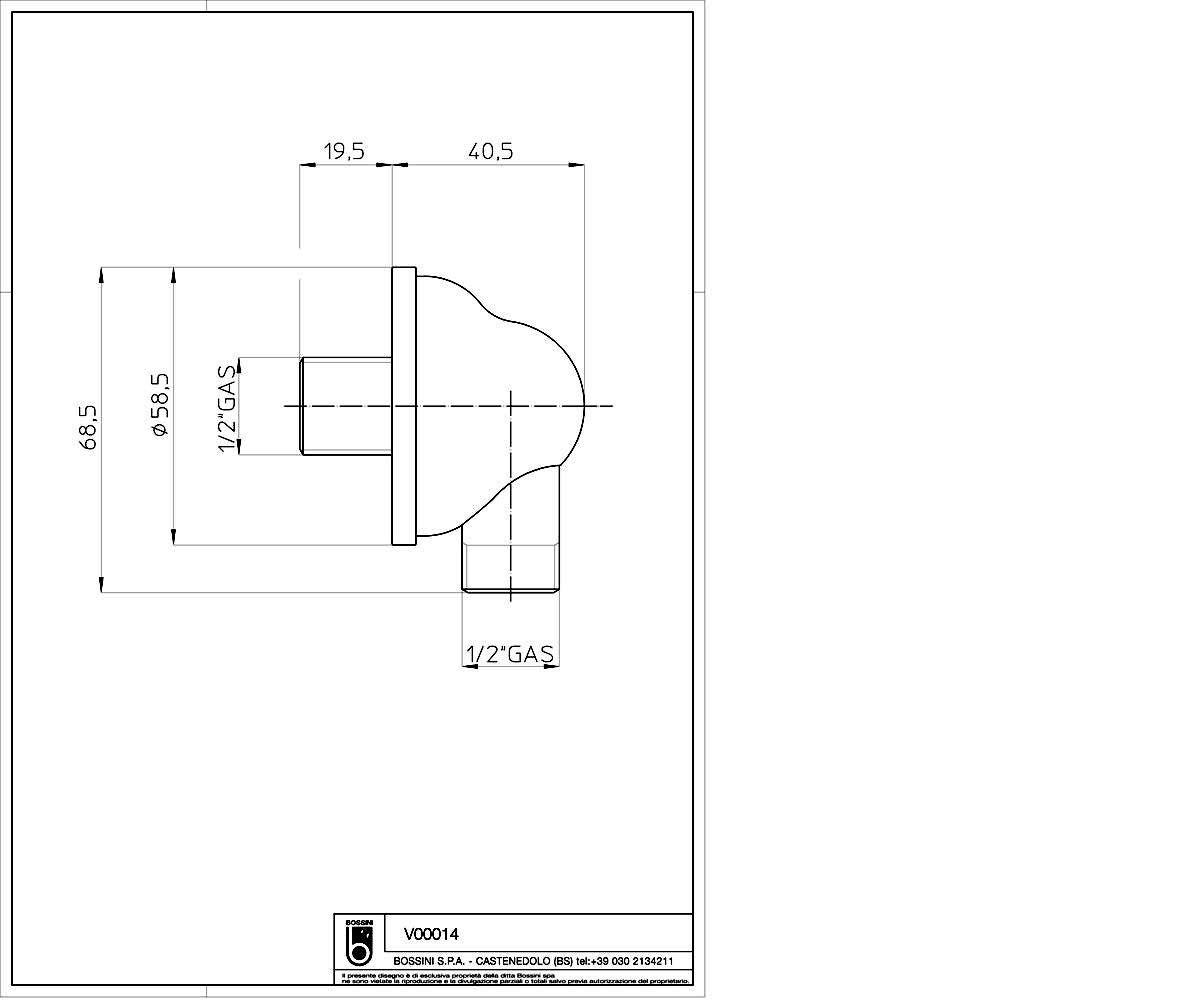 Подключение шланга BOSSINI V00014 медь