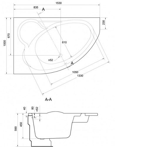 Ванна акриловая Cersanit Kaliope левая 153×100 S301-024