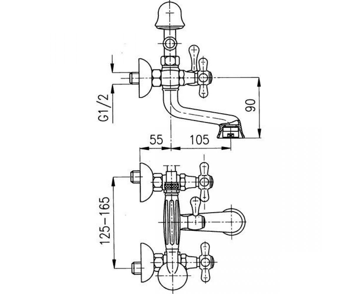 Смеситель для ванны KFA ARMATURA Retro 374-145-00