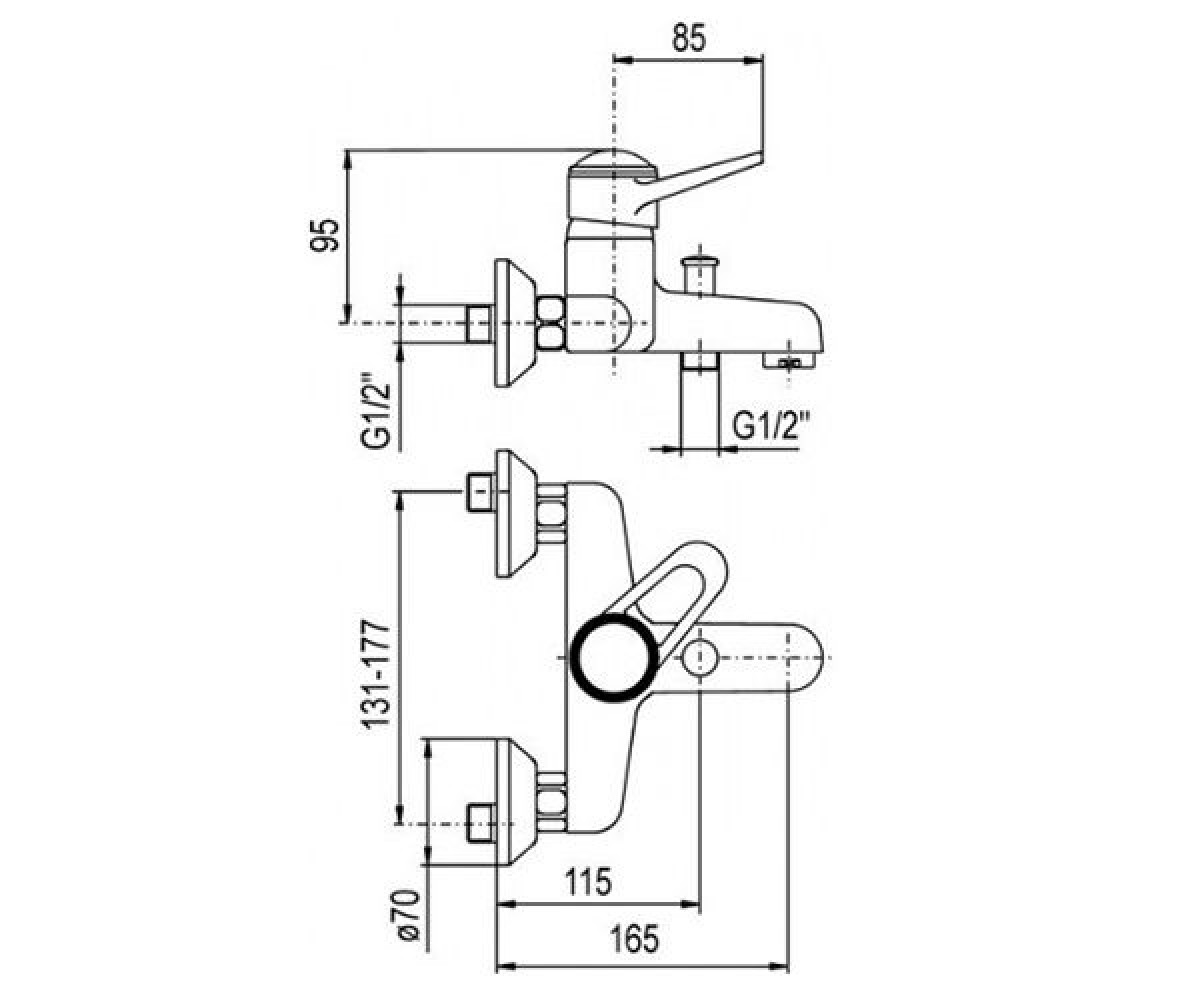 Cмеситель для ванны KFA ARMATURA NEFRYT 504-010-00