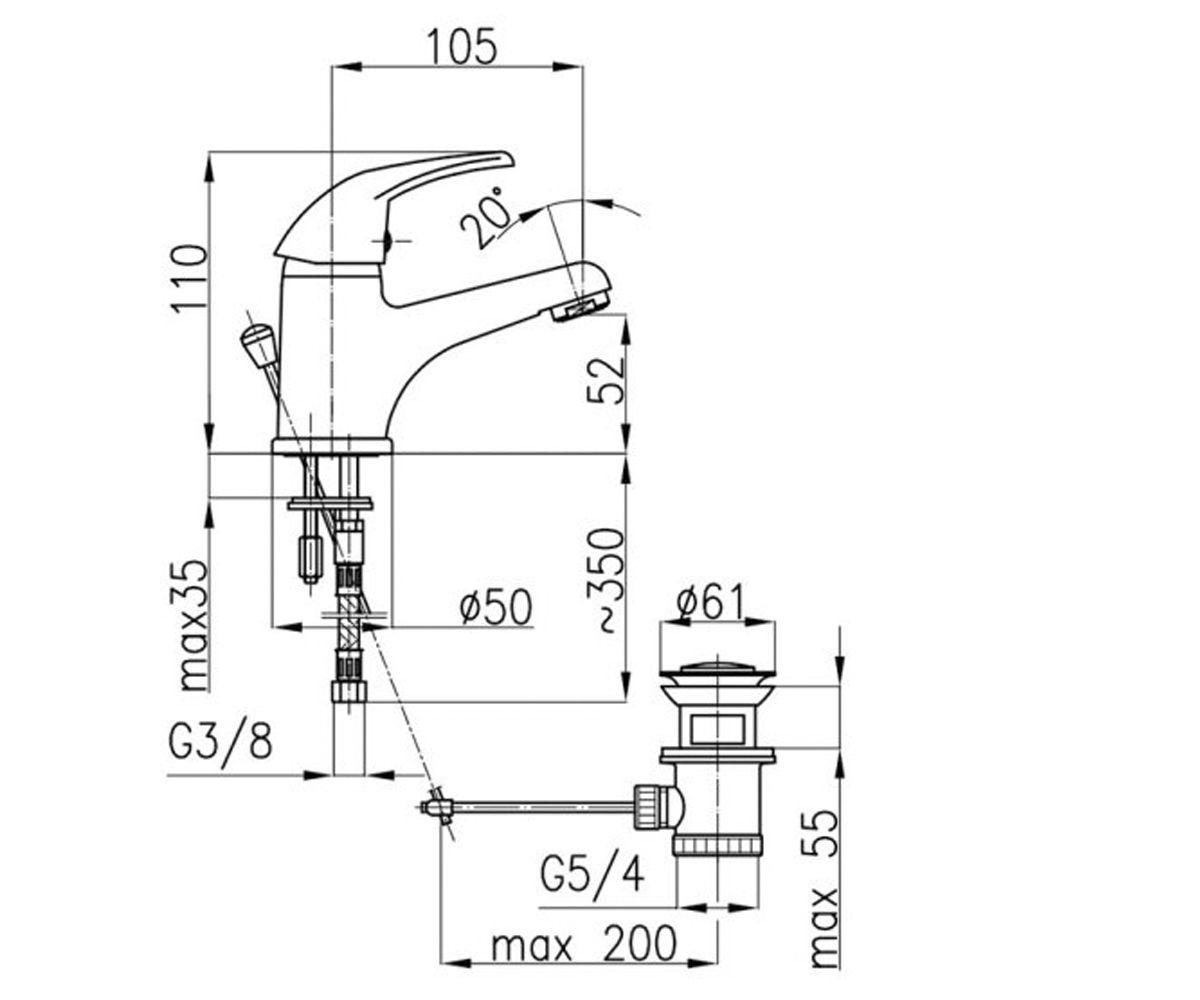 Смеситель для раковины KFA ARMATURA KROMA 542-834-00