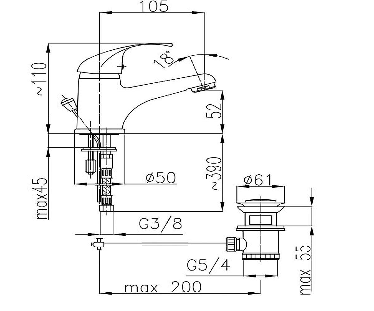 Смеситель для раковины KFA ARMATURA ECOKRAN 5512-825-00