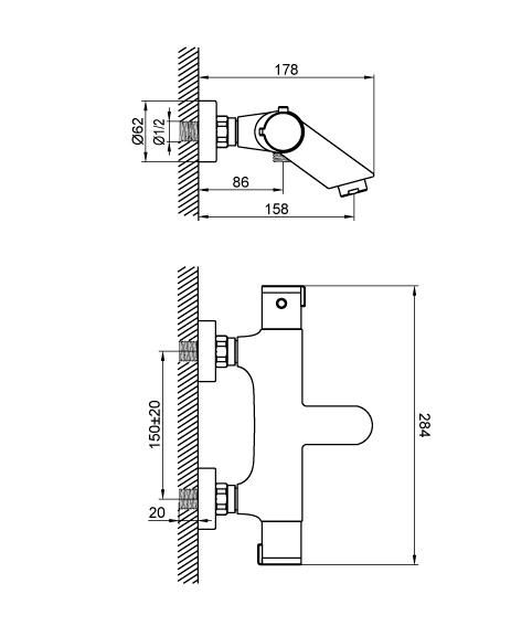 Термостат для ванны DEVIT SMART LINE 67028TJW3