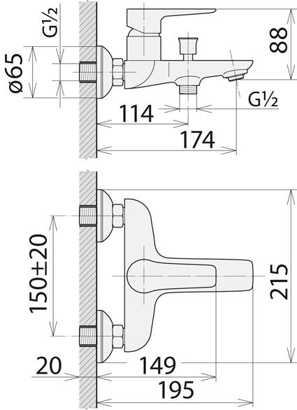 Смеситель Welle »Gerda» для ванны и душа WEV23461KXH21166- HN