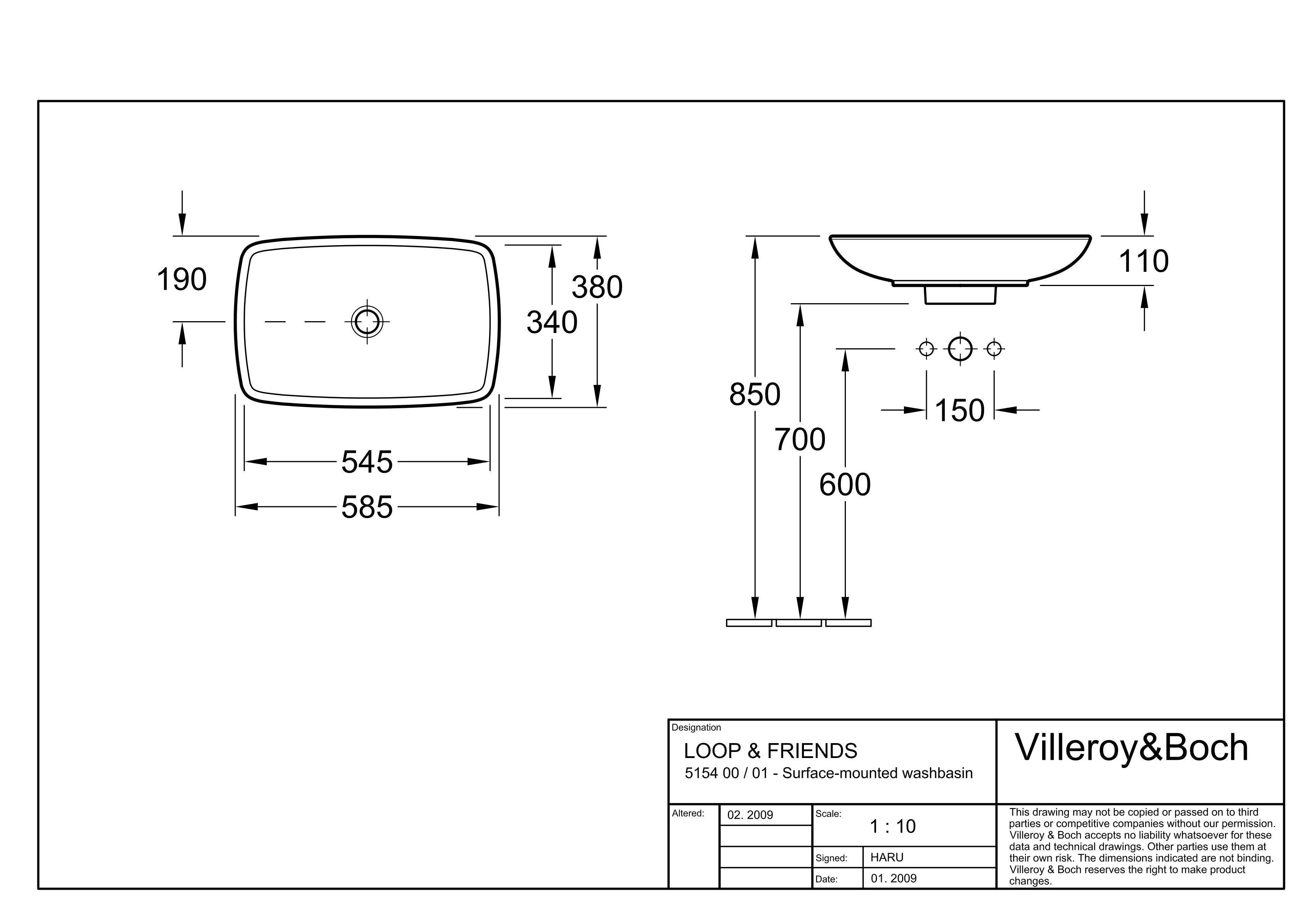 Раковина Villeroy & Boch Loop&Friends 51540001