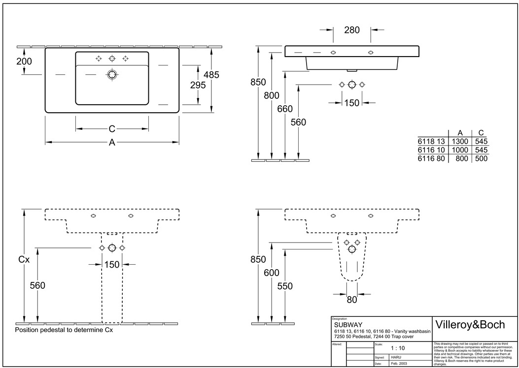 Раковина Villeroy & Boch Omnia Architectura 61168001
