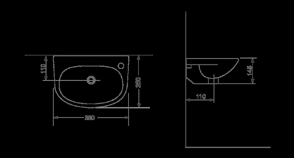 Раковина для монтажа на стену Devit Small 1014135