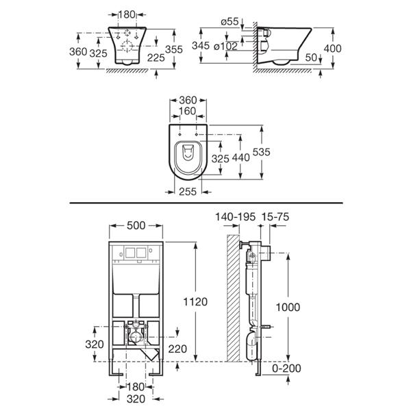 Комплект: инсталляция с подвесным унитазом 5 в 1 Roca A34H648000+890096001+89009000K
