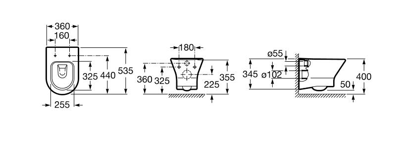 Чаша подвесного унитаза Roca Nexo с сиденьем soft-closing A34H648000