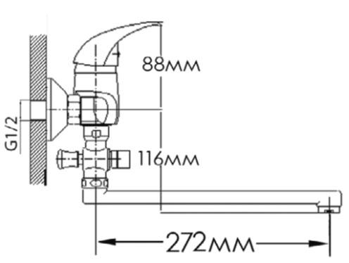 Смеситель для ванны FORMIX ФОРТУНА FM2307030C-30F