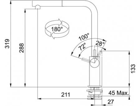 Кухонный смеситель FRANKE NEPTUNE STYLE 115.0289.534 оникс