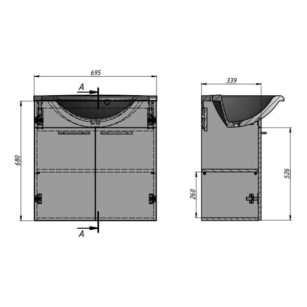 Тумба с умывальником Буль-Буль Elba 700 (ШН-Анна 700) белый