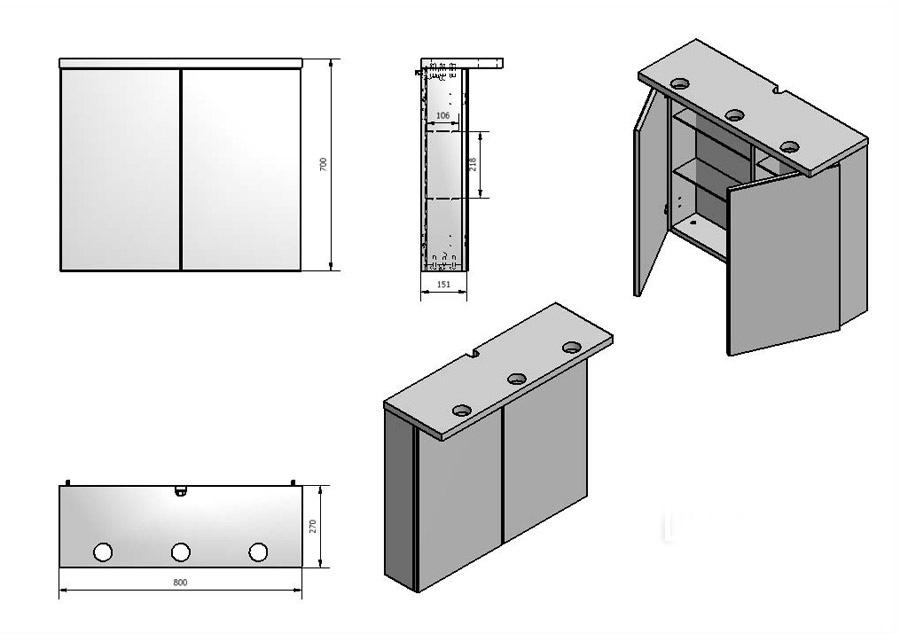 Зеркальный шкаф Буль-Буль MC-10 (ШЗ-10) венге
