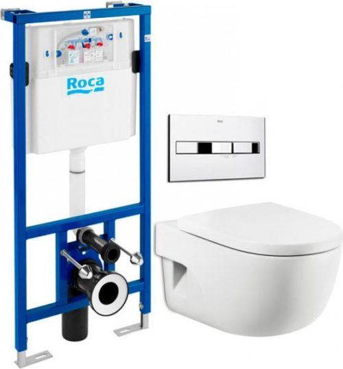 Комплект: инсталляция с подвесным унитазом 5 в 1 Roca A34H249000+890096001+89009000K