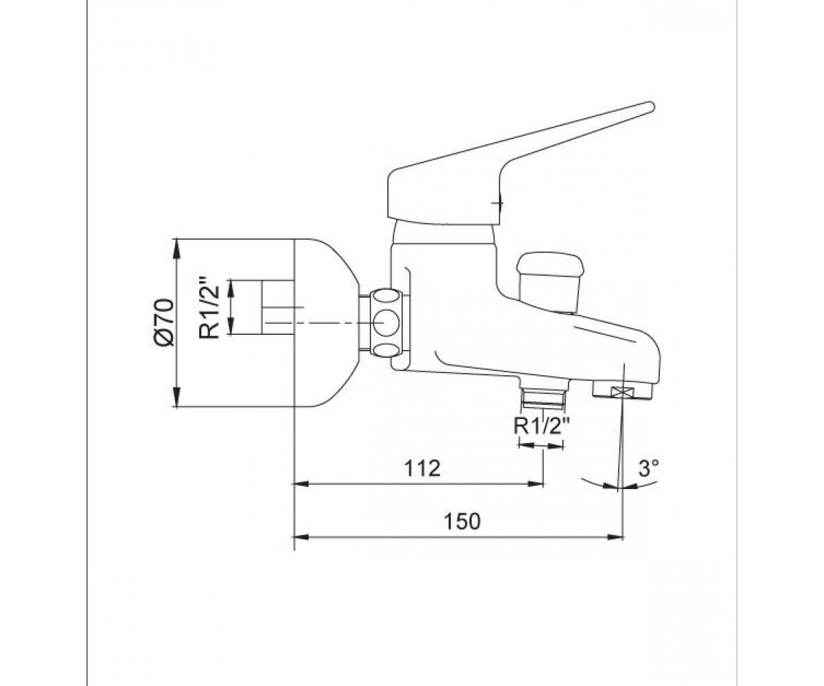 Смеситель для ванны ECA MIX L М 685 102102091