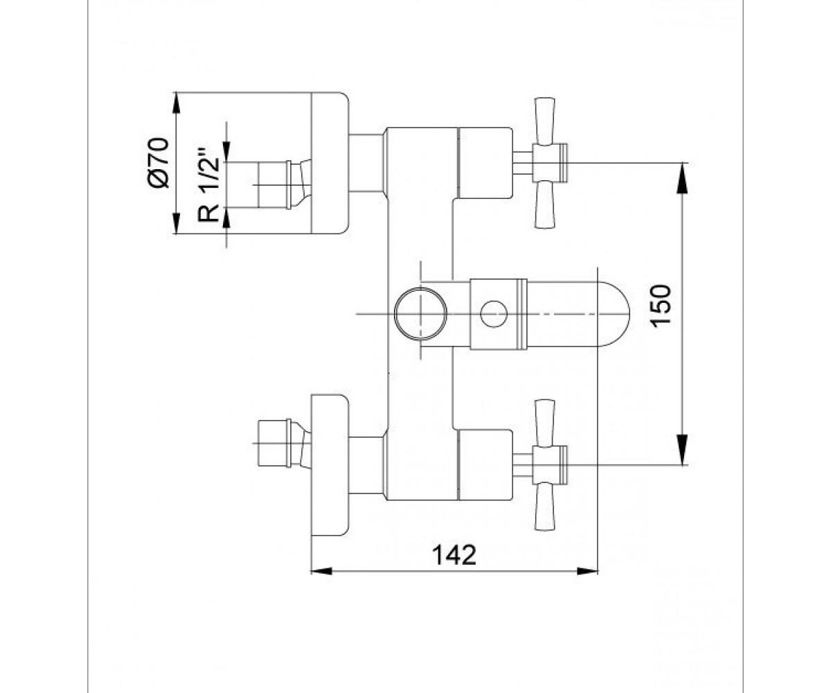 Смеситель для ванны ECA QUADRILLE М 235 102102230