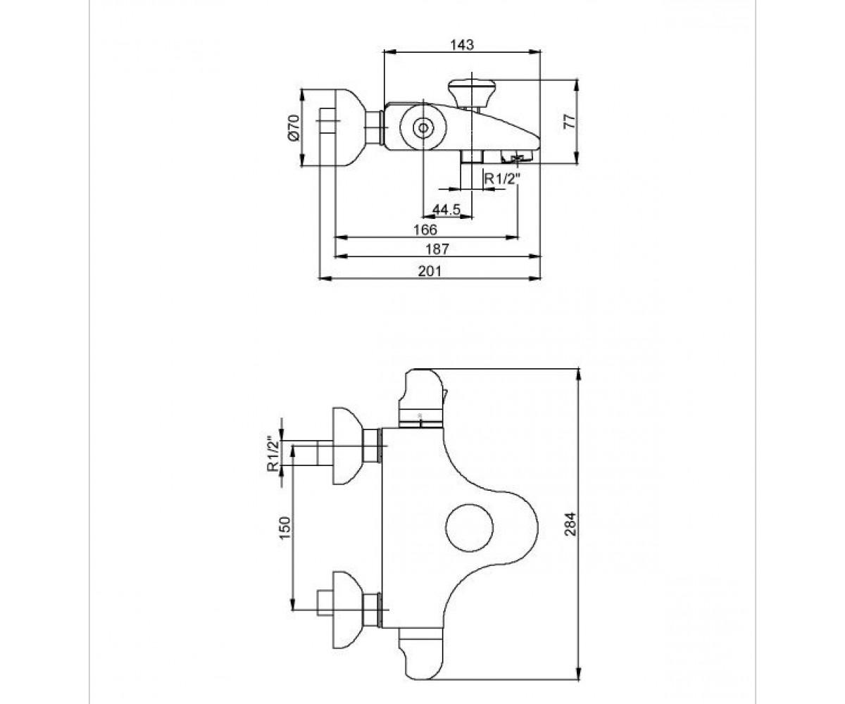 Смеситель для ванны ECA Thermostatic М 660 102102267