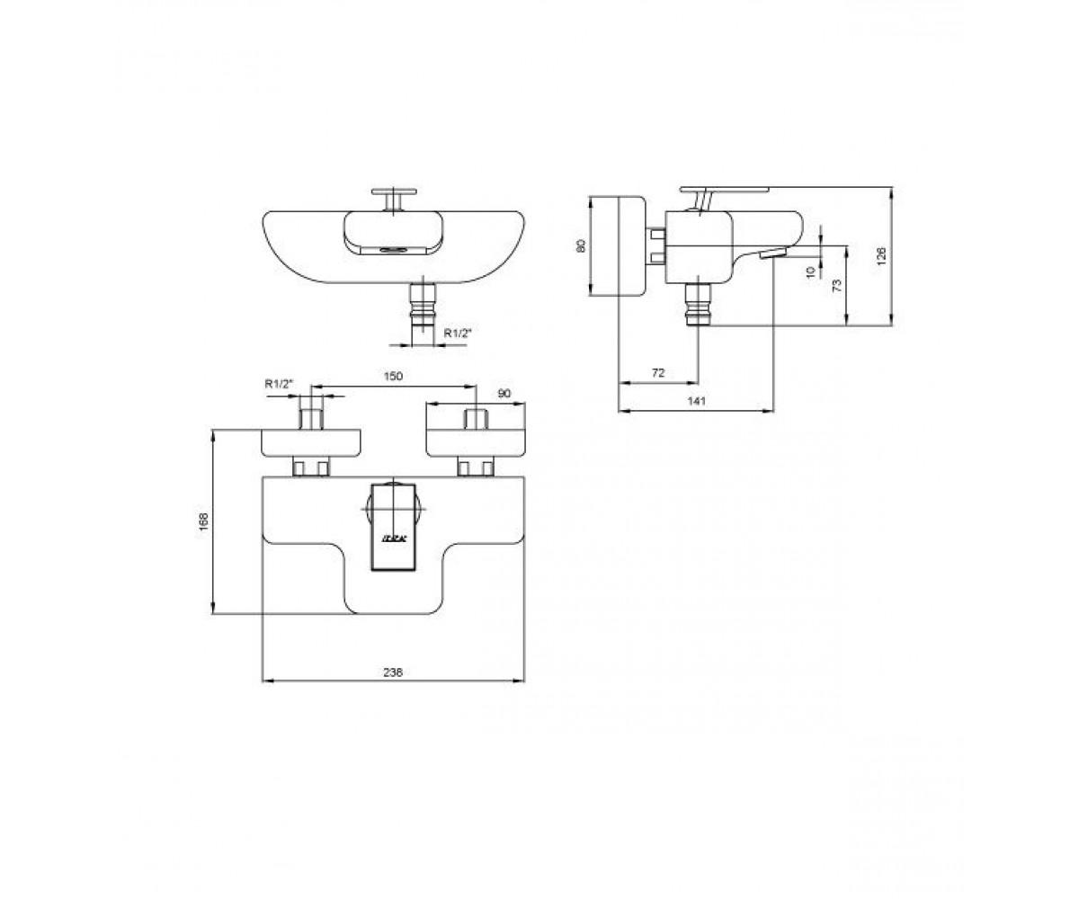 Смеситель для ванны E.C.A Neva М 1060 102102443