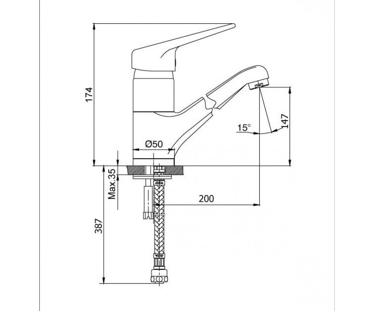 Смеситель для кухни ECA MIX L М 680 102108293