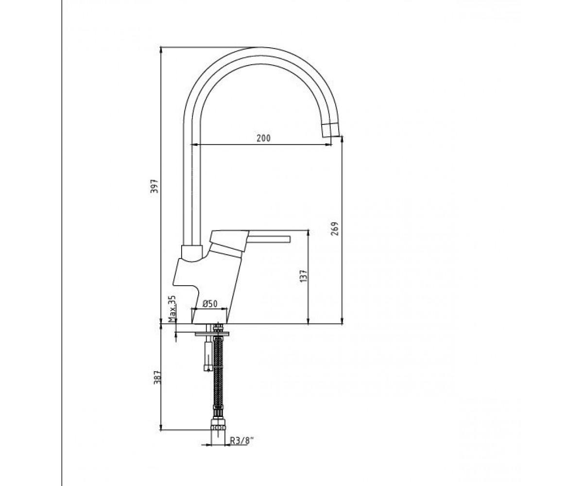 Смеситель для кухни ECA Mix Minimal М 380 102108571