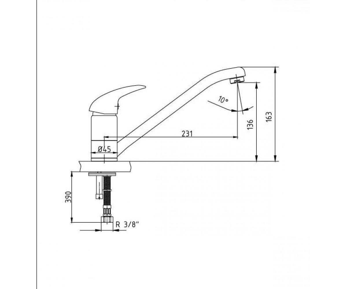 Смеситель для кухни ECA MIX P М 180 102108664