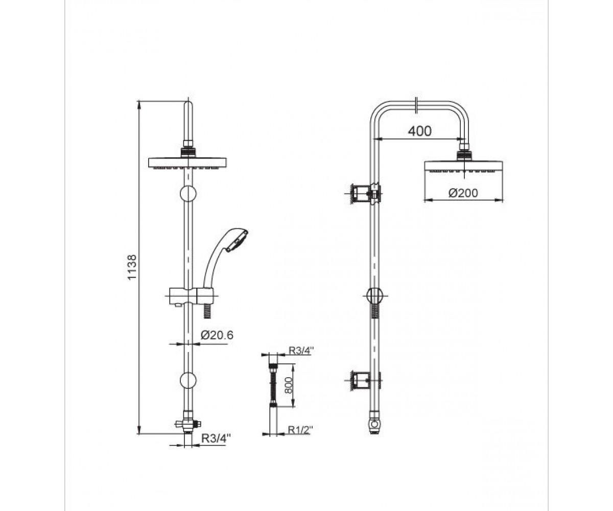 Душевой набор E.C.A Standard М 025 102158001