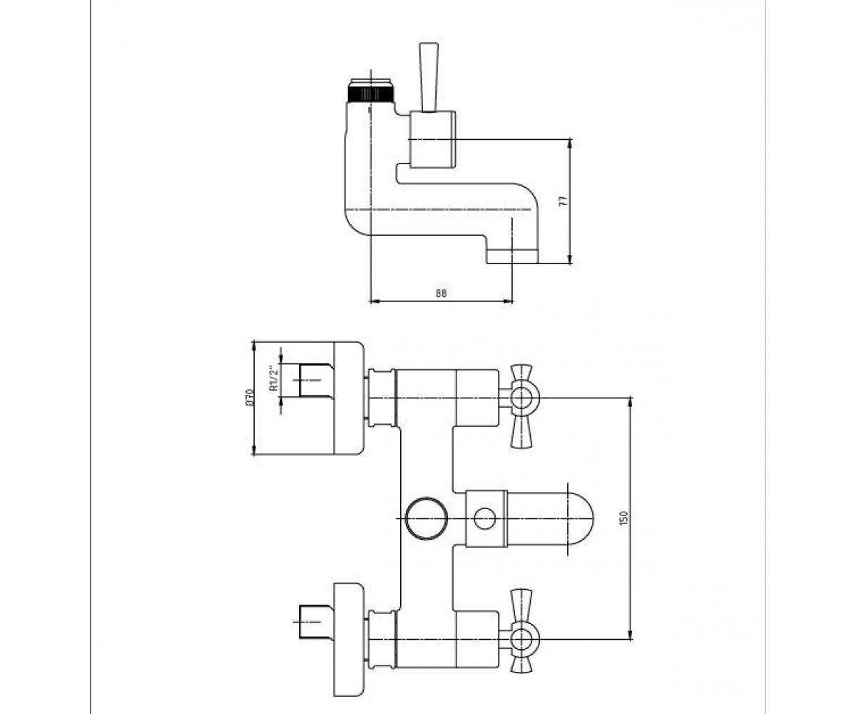 Смеситель для ванны ECA TRIO М 760 402102117