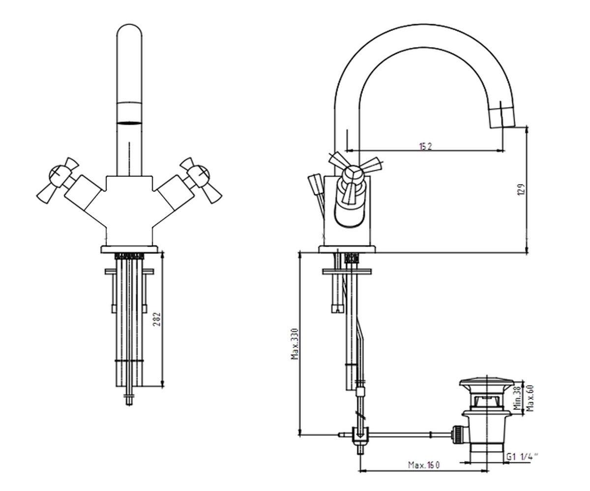 Смеситель для раковины E.C.A TRIO М 750 402108224