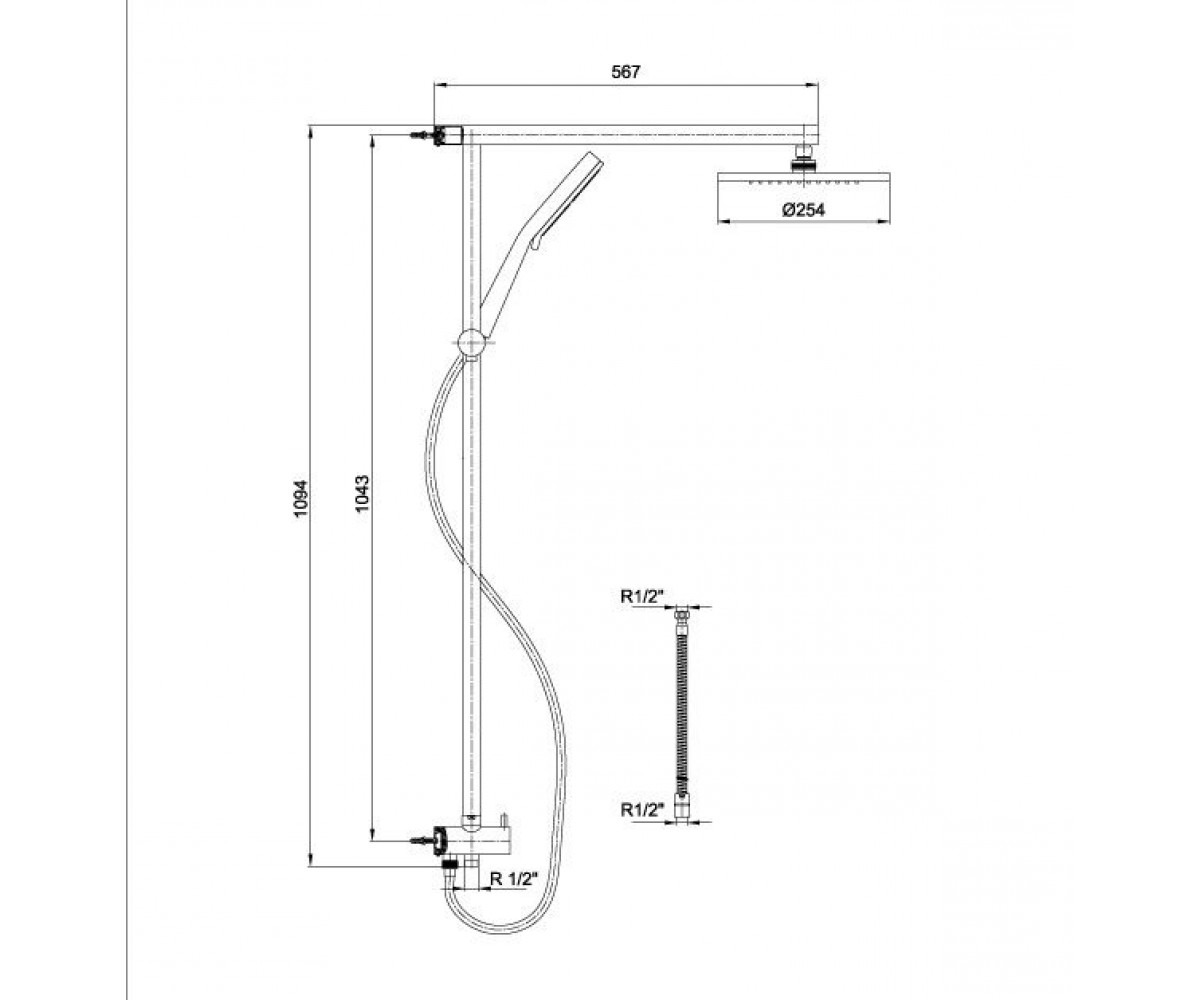 Душевая система E.C.A Standard Minimal М 026 402158001