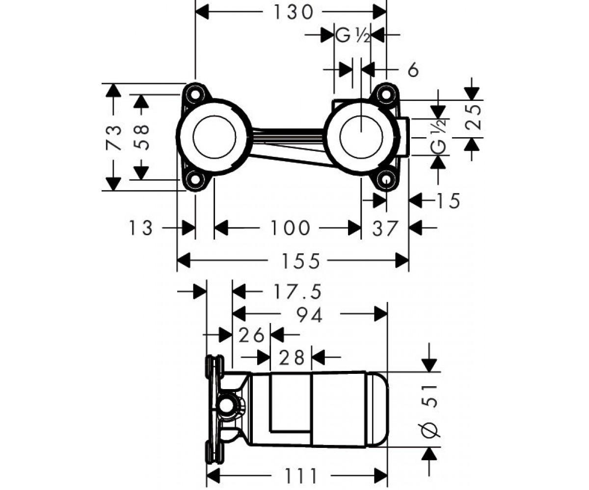 Встраиваемый механизм HANSGROHE METRIS 13622180