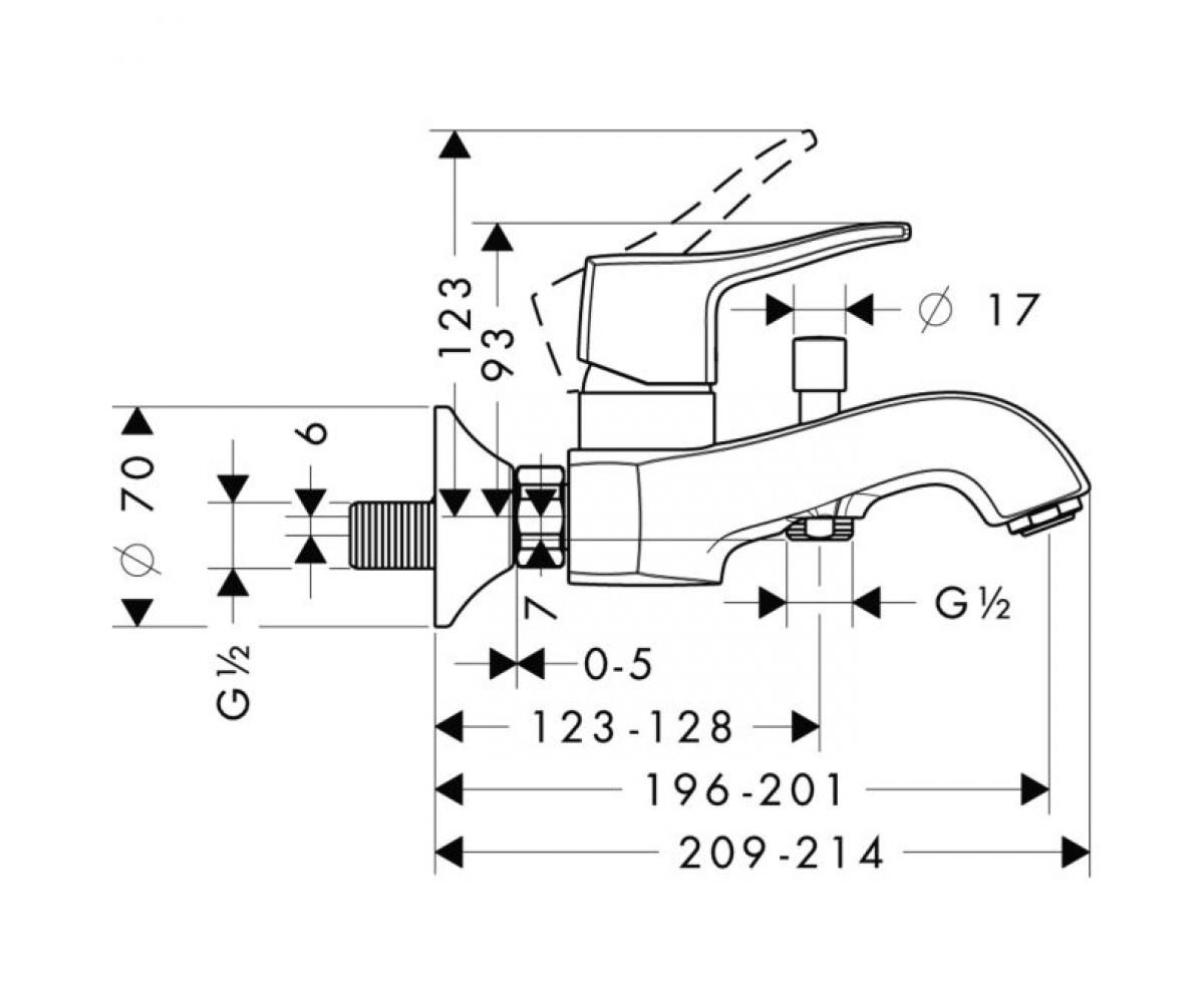Смеситель для ванны HANSGROHE METRIS CLASSIC 31478820