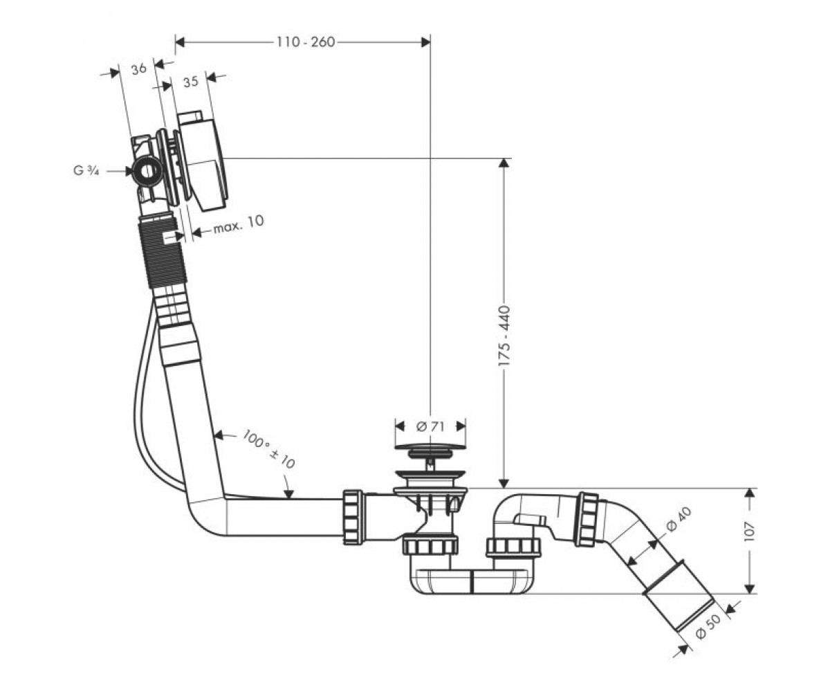 Слив-перелив HANSGROHE Exafill S 58113000