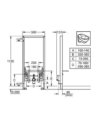 Rapid SL Инсталяционная система для биде (без принадлежностей для монтажа перед стеной) GROHE 38553001