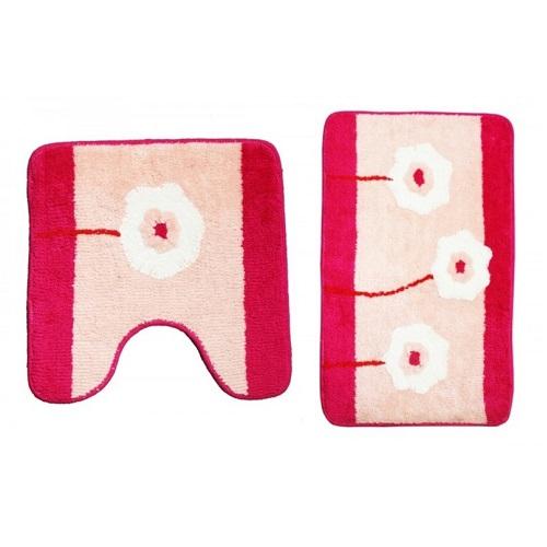 Набор ковриков для ванной комнаты KERAMAC Розовые цветы new 8000331