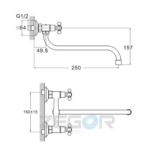 Смеситель для кухни ZEGOR (TROYA) T41-TZK-A605