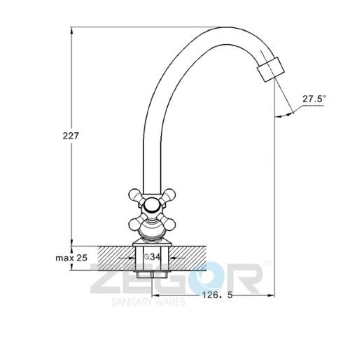 Смеситель для кухни ZEGOR (TROYA) LML 4 А605 (шланги в комплекте не идут)