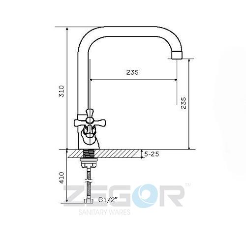 Смеситель для кухни ZEGOR (TROYA) T43-TOE-A827