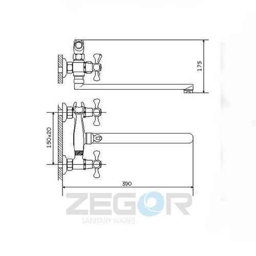 Смеситель для ванны ZEGOR (TROYA) DTZ-A827 (T63-D4Q-A827)