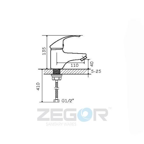 Смеситель для умывальника ZEGOR (TROYA) SWZ1 А182 (Z13-SWZ1-A182)