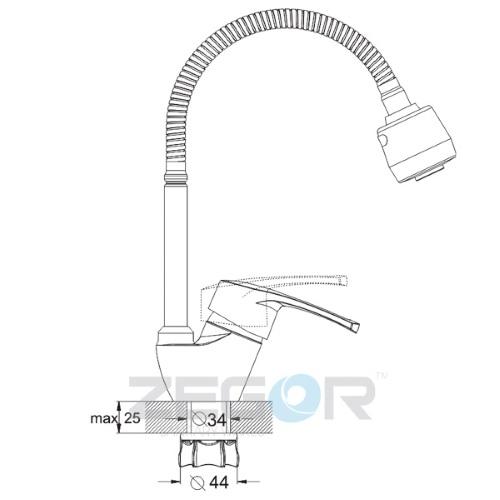 Смеситель для кухонной мойки ZEGOR (TROYA) YUB-E181